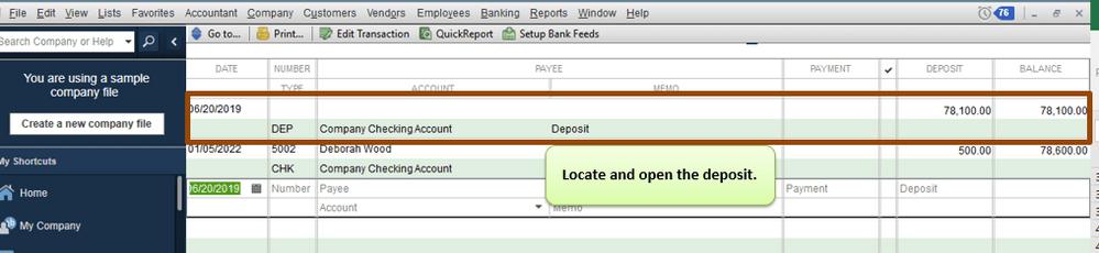 delete a deposit in quickbooks.
