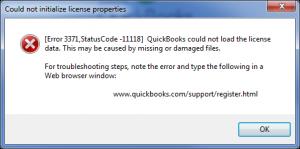 quickbooks error 3371 code 11118