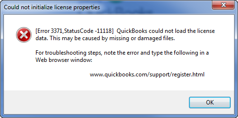 quickbooks error 3371 code 11118