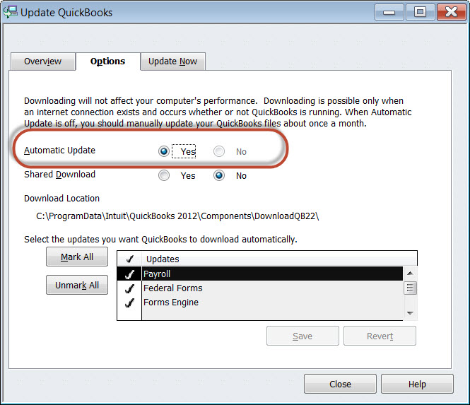 quickbooks update automatically