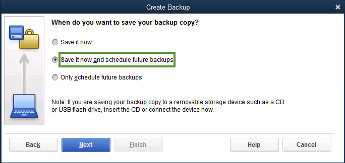 Backup options QuickBooks Desktop
