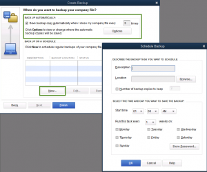 How to create a backup file in Quickbooks
