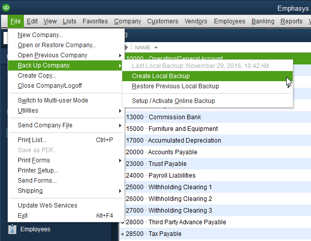 Make a backup in Quickbooks