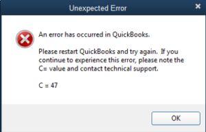 QuickBooks Error C 47
