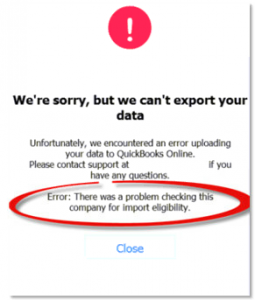 errors in converting Quickbooks desktop to online