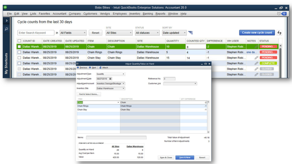 quickbooks enterprise advanced inventory