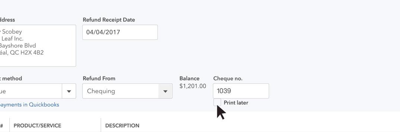 refund receipt quickbooks online