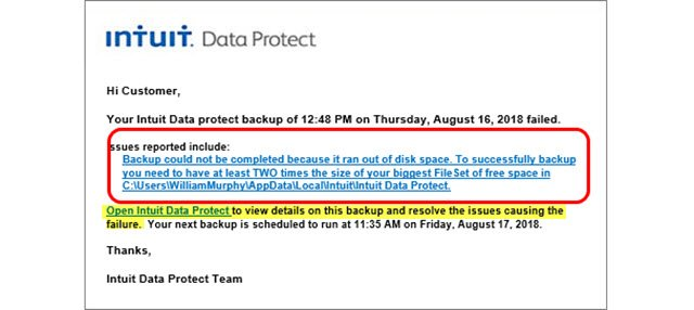 Intuit data protect backup failed