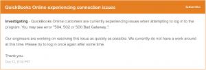 Quickbooks 502 bad gateway error