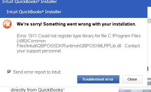 Quickbooks error code 1911