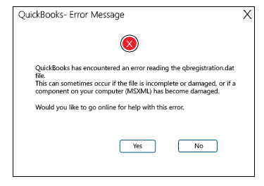 Quickbooks registration error