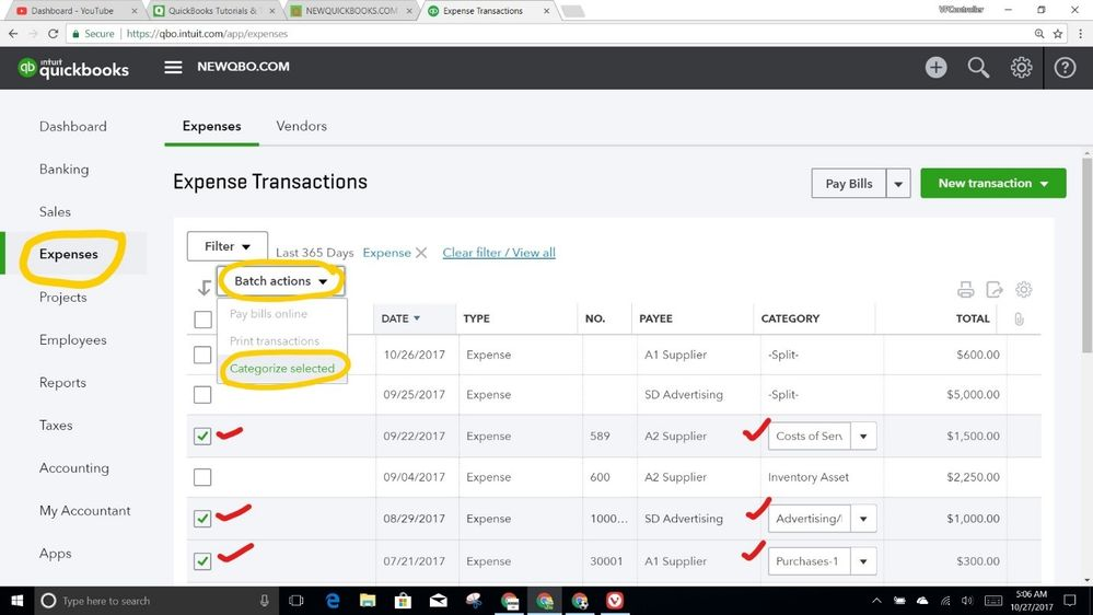 Reclassify transactions in Quickbooks desktop