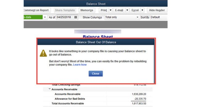 balance sheet out of balance in Quickbooks