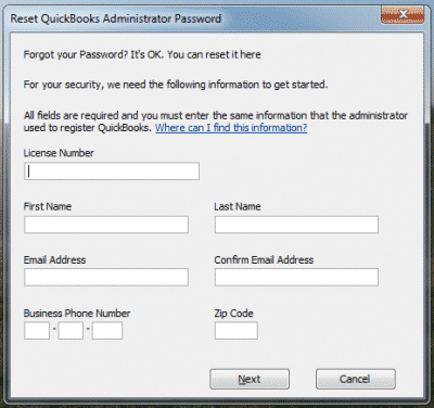 crack admin password in Quickbooks