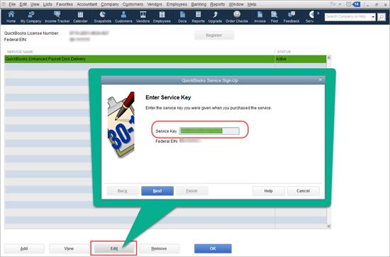 enter payroll service key quickbooks desktop
