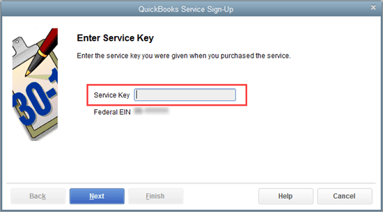enter payroll service key quickbooks
