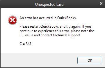 quickbooks error c=343