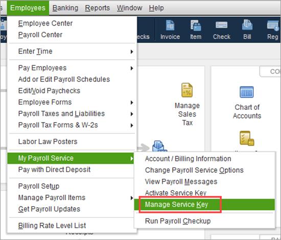 quickbooks payroll service key