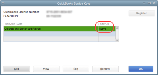 quickbooks service key for payroll