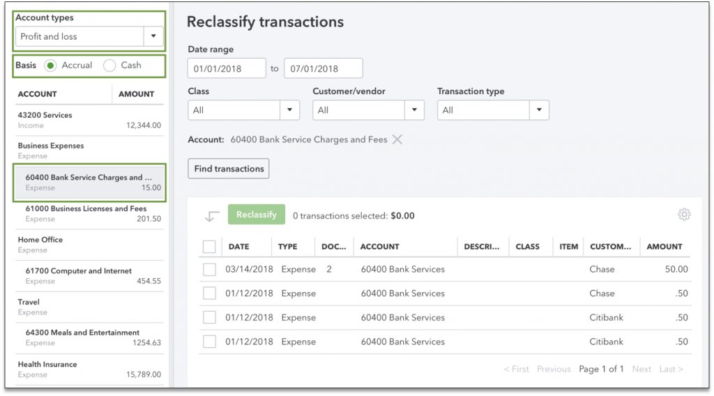 reclassify transactions in Quickbooks