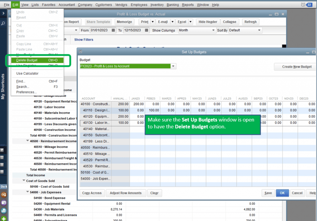 how to delete or edit a budget in quickbooks